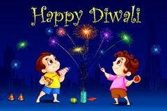 Kids enjoying Diwali. Vector illustration of kids enjoying Diwali Stock Photos