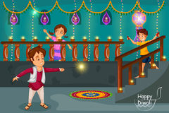 Kids enjoying firecracker celebrating Diwali festival of India. In vector Stock Image
