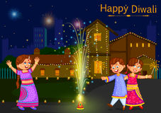 Kids enjoying firecracker celebrating Diwali festival of India. In vector Royalty Free Stock Photo