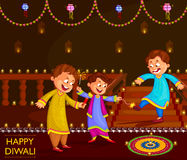 Kids enjoying firecracker celebrating Diwali festival of India. In vector Royalty Free Stock Photos