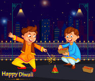 Kids enjoying firecracker celebrating Diwali festival of India. In vector Royalty Free Stock Images
