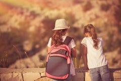 Kids enjoying hike royalty free stock photos