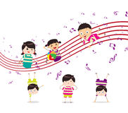 Kids enjoying playing music Stock Image