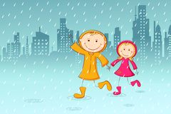 Kids enjoying Rain Stock Images