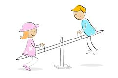 Kids enjoying on seesaw. Illustration of kids taking ride on seesaw against white background Royalty Free Stock Image