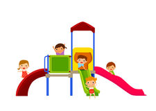 kids enjoying on slide Royalty Free Stock Image