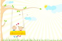 Kids enjoying Swing Ride Stock Photography