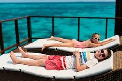 Kids enjoying tropical vacation Royalty Free Stock Photo