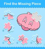 Kids entertaining puzzle game with a sea shell. Kids entertaining game with a pink sea shell missing jigsaw puzzle piece in a vector illustration of marine life Stock Images