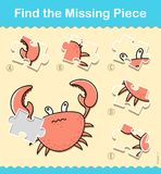 Kids entertaining puzzle piece game with a crab. Kids entertaining jigsaw puzzle game with a red crab and a choice of five pieces in a vector illustration of Royalty Free Stock Image