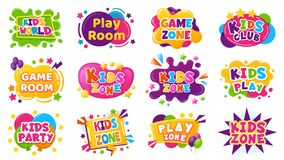 Free Kids Entertainment Badges. Game Room Party Labels, Children Education And Entertainment Club Elements. Baby Playing Zone Stock Images - 179623934