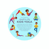 Kids exercise poses and yoga asana set Stock Photos