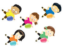 Kids exercising with ball Royalty Free Stock Photo