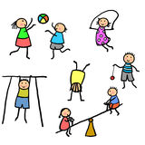 Kids exercising and playing illustration. Stick figure children getting exercise while having fun Stock Photo