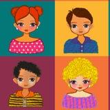 Kids face cartoon seamless illustrations Stock Photo