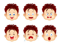 Kids face expressions. Set isolated on white stock illustration