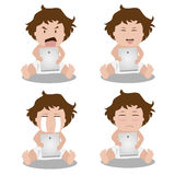 Kids face expressions when using tablet. Royalty Free Stock Image