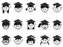 Kids face with graduation cap icons Stock Image