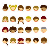 Kids face icons set Stock Image