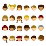 Kids face icons set. Illustration Stock Image