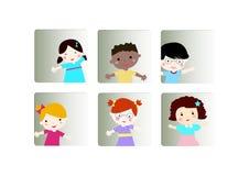 Kids face icons set Stock Photos