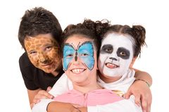 Kids with face-paint stock image