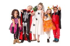 Happy kids in Halloween royalty free stock photo