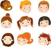 Kids Face Set Stock Photo