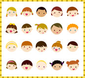 Kids Face Set Stock Photo