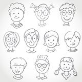 Kids Face Set Sketch Stock Photo