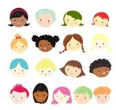 Kids face sets Stock Photo