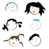 Kids faces. Children faces on white background,  illustration Royalty Free Stock Photo