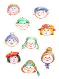 Kids faces royalty free stock photo