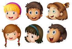 Kids faces. Illustration of a kids faces on a white background Stock Photo
