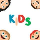 Kids faces frame Royalty Free Stock Photos