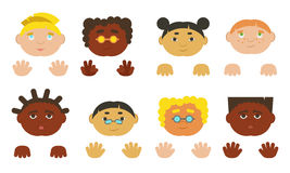 Kids faces and hands. Different ethnics, . Kids faces and hands european, asian and african-american. Vector illustration Royalty Free Stock Image
