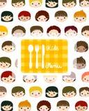 Kids faces menu background Stock Image