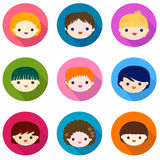 Kids faces set Royalty Free Stock Photos
