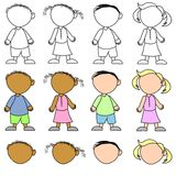Kids Without Facial Expressions stock illustration