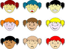 Kids facial expressions, isolated Royalty Free Stock Image