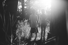Kids facing bright sunshine in the forest. Boy and girl holding hands in the forest facing bright light ahead of them surrounded by trees stock photography