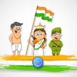 Kids in fancy dress of Indian freedom fighter Royalty Free Stock Photography