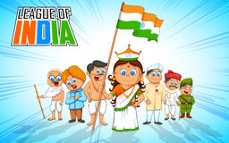 Kids in fancy dress of Indian freedom fighter Stock Photography
