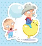 Baby cowboy. Happy childhood of kids. Funny stickers. Kids fantasize. The child is riding in a hot air balloon. Expression of joy and happiness, children`s Royalty Free Stock Photography