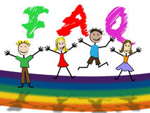Kids Faq Means Frequently Asked Questions And Youngster. Faq Kids Showing Frequently Asked Questions And Support Youngsters Stock Photography