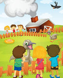 Kids at the farm. Illustration of kids at the farm Stock Photography