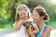 Kids and farm animals. Child with baby pig at zoo. Royalty Free Stock Photography