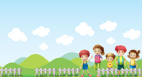 Kids in the farm. Illustration of kids in the farm Royalty Free Stock Image