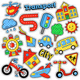Kids Fashion Badges, Patches, Stickers in Comic Style Education City Transport Theme with Bicycle, Cars and Bus Royalty Free Stock Photos