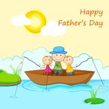 Kids with Father in Boat doing Fishing Stock Photo